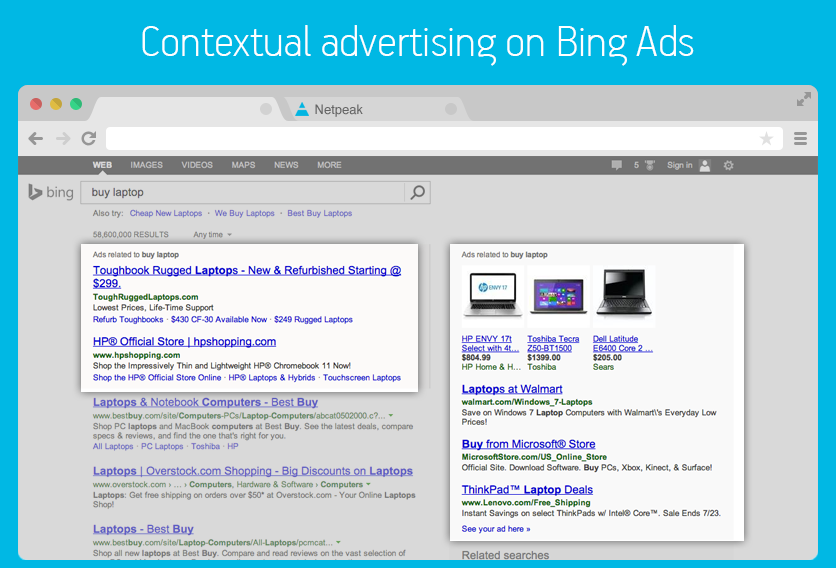 Example of online PPC advertising on Bing Ads