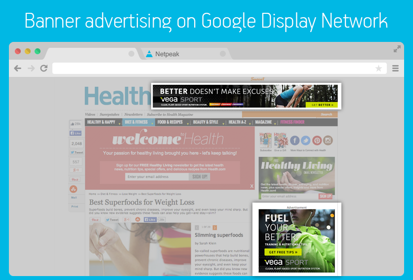 Example of banner advertising on Google Display Network